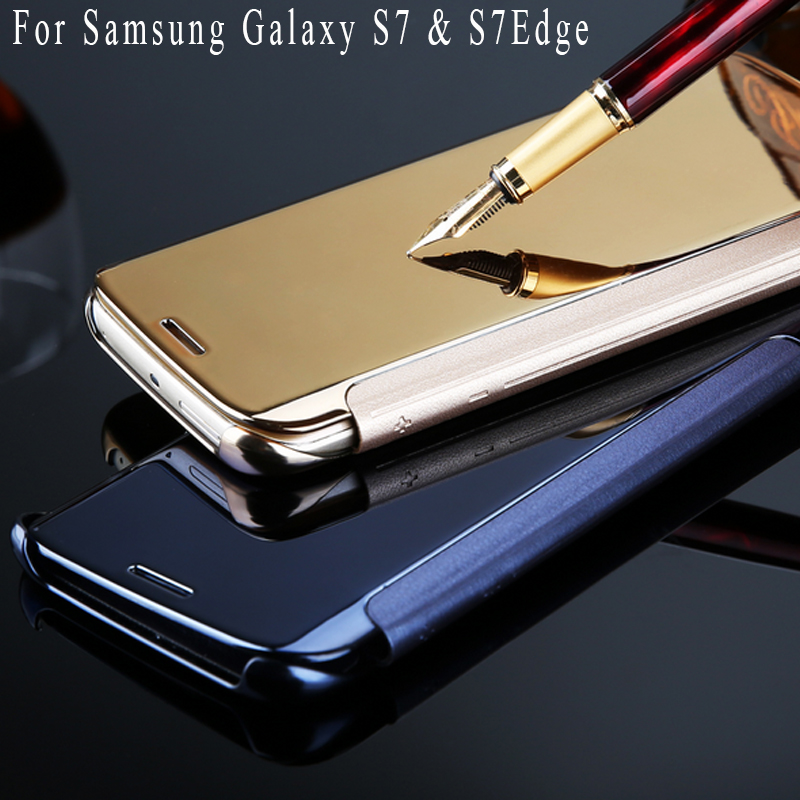 For Samsung Galaxy S7 S7 Edge Case Mirror Screen Flip Leather Case For Samsung Galaxy S7 ...