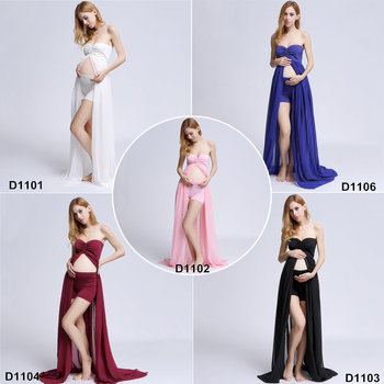 Clearance Chiffon Gown maternity dress for photo shoot Split front Maternity Photography Prop Maternity Dress without Shorts s m l xl maternity dress for photo shoot maxi maternity gown split front maternity chiffon gown sexy maternity photography props