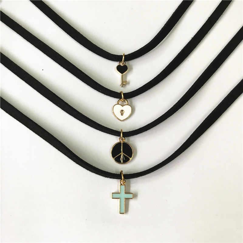 Модное очаровательное ювелирное изделие для женщин Готический чёрный кружевной Бархатный чокер ожерелье Любовь крест ожерелье s & Кулоны для женщин Подарки ручной работы