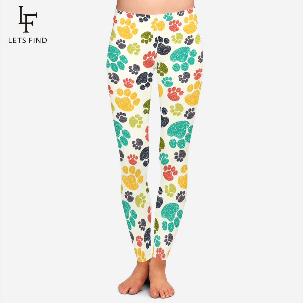 Fashion Colorful Dog Paws Printed Leggings Women Girl Sexy Fitness Legging High Quality Comfortable Workout Leggings Plus Size