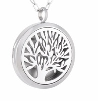 IJP0169 High Polished 30mm round Stainless steel tree Designed Perfume Locket Aromatherapy Essential Oil Diffuser Necklace
