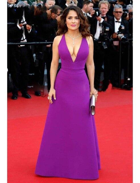 Salma Hayek Lila Bodenlangen A line Tiefem V ausschnitt Kleid Cannes ...