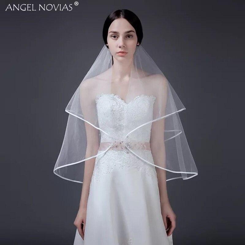 ANJO NOVIAS Curto Branco/Marfim Fita de Borda Nupcial Do Casamento Acessórios Do Casamento Veils Velo De Novia Accesorios Mujer