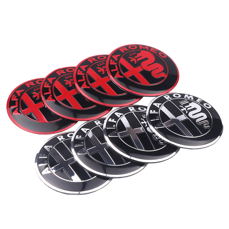 Image 4 - 4pcs 56mm Car Wheel Center Hub Cap Cover Sticker Rim Emblem Badge Fit For Alfa Romeo Giulietta Spider GT Giulia Mito 147 156 159-in Car Stickers from Automobiles & Motorcycles
