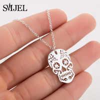 SMJEL, винтажное ожерелье с подвеской в виде скелета, женское этническое ожерелье с черепом, s колье, Мексиканский череп, ювелирное изделие, под...