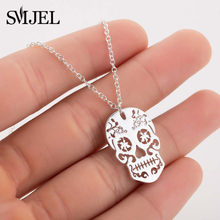 SMJEL Vintage Skeleton Pendant Necklace Women Ethnic Skull Necklaces Choker Mexican Skull Jewelry Halloween Gifts collier femme(China)