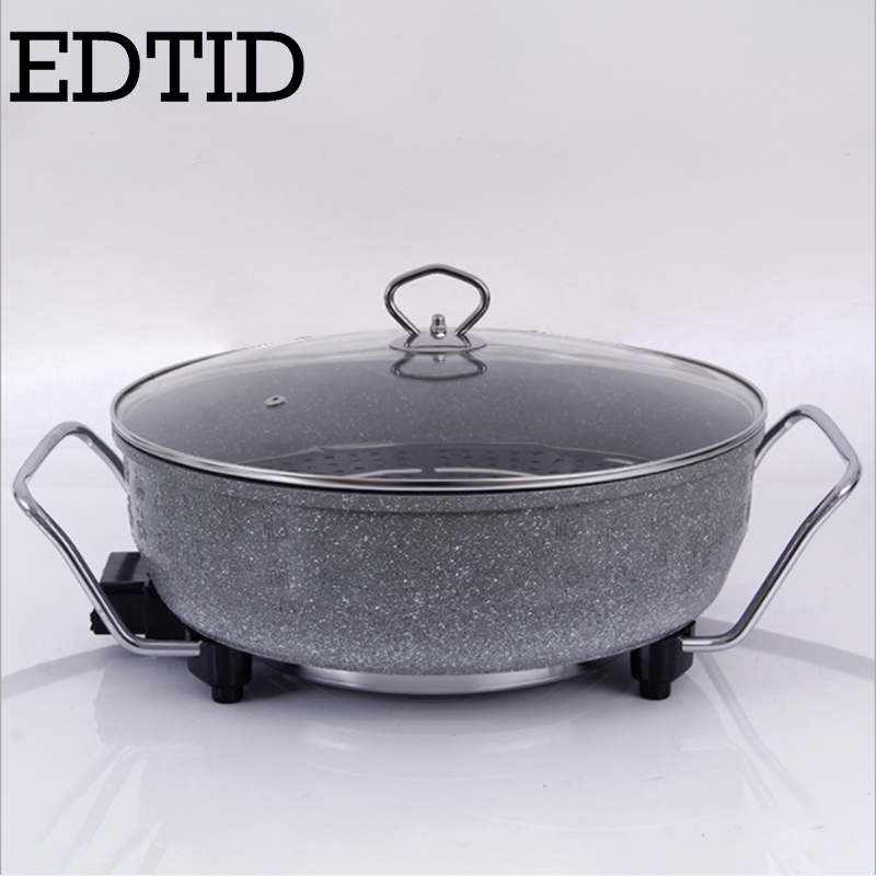 EDTID Multifunctional electric cooker mini heat pan students Hot pot without oil fume Nonstick Frying Pan special offer