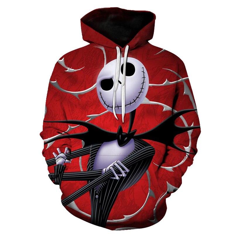 Halloween Hoodie Skellington Pullover Skulls Christmas-Jack Printed Nightmare The Veste