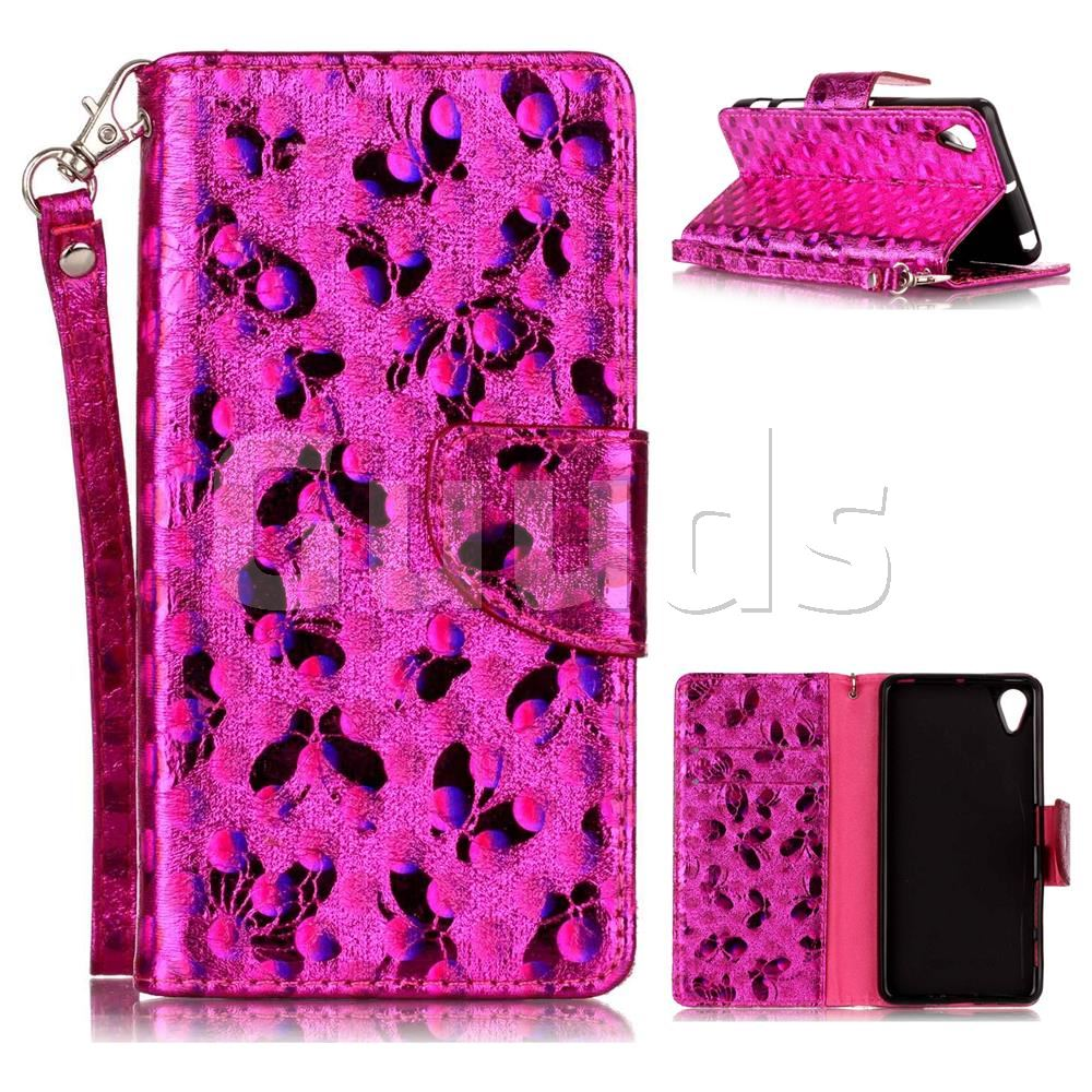 Luxury Laser Butterfly Optical Maser Leather Wallet Case for Sony Xperia X Performance - Rose