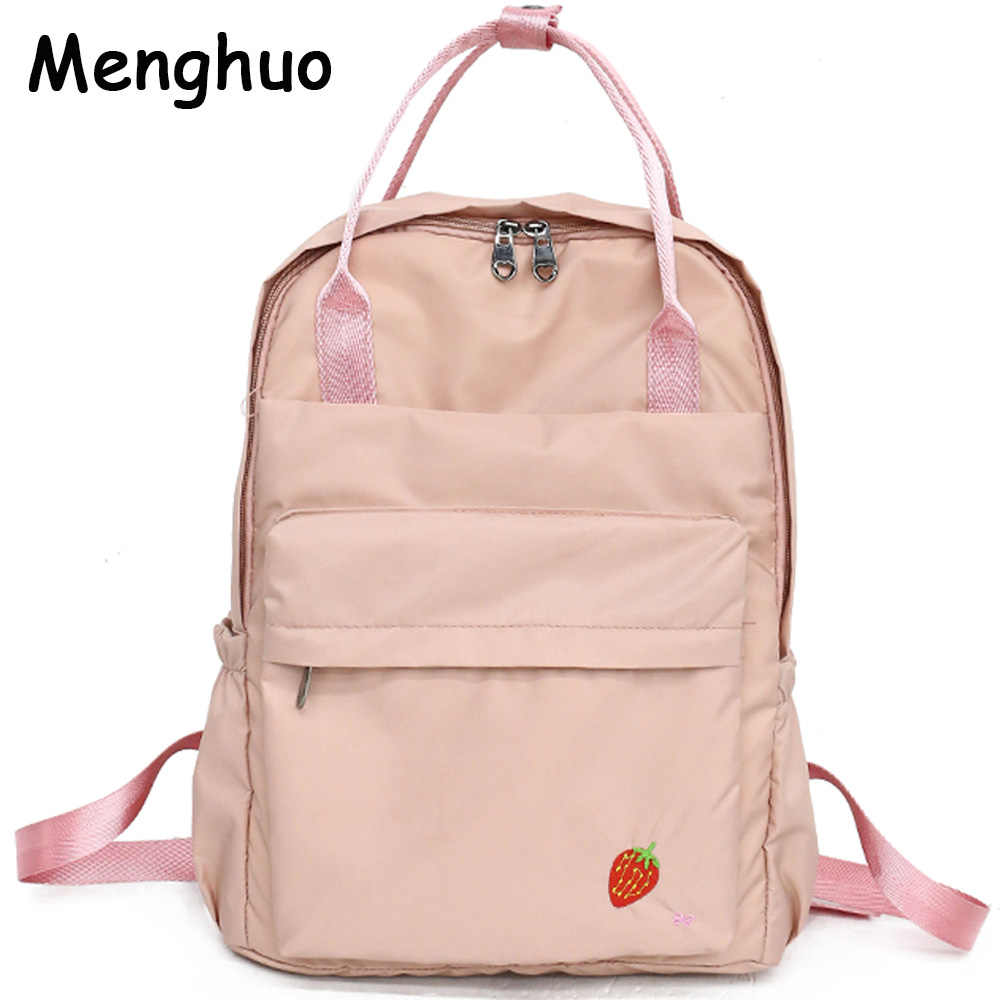 b45f226291 Menghuo 2018 New Preppy Style Fashion Embroidery Ladies Backpack Nylon High  Quality Women School Shoulder Bag