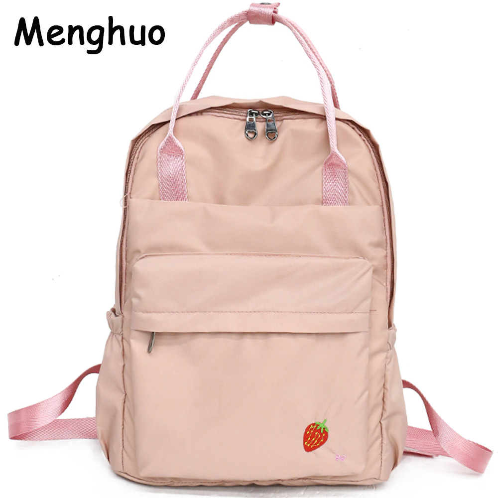 f77826719f0d Menghuo 2018 New Preppy Style Fashion Embroidery Ladies Backpack Nylon High  Quality Women School Shoulder Bag for Girls Youth-in Backpacks from Luggage  ...