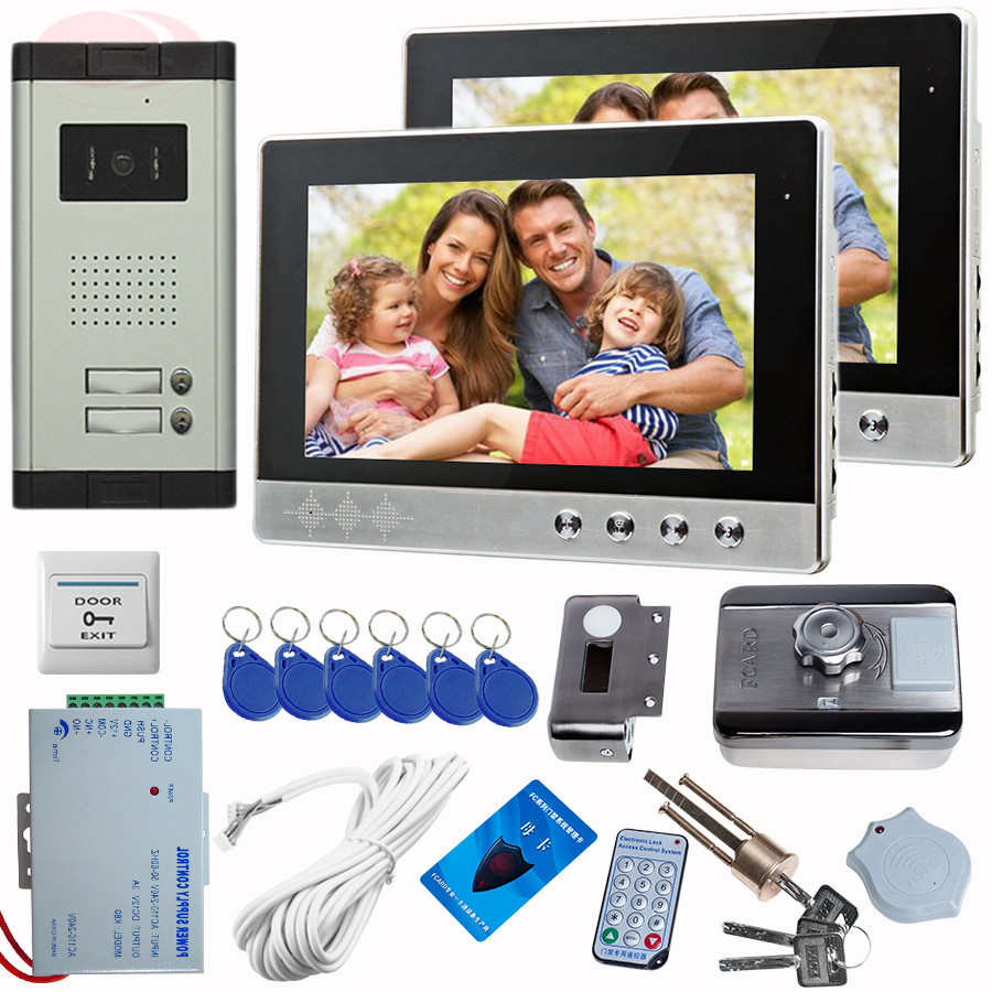 Video Intercom 10'' Screen Call For Home Doorbell Color CCD Camera 2 key With Rfid Unlock Electronic Lock Intercom Entry System rfid reader doorbell camera for 10 apartment door bell 4 3 color monitors home intercom with electronic lock video doorman home