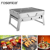 Portable Stainless Steel Barbecue Grill Charcoal BBQ Grill Folding for Outdoor Camping Cookouts
