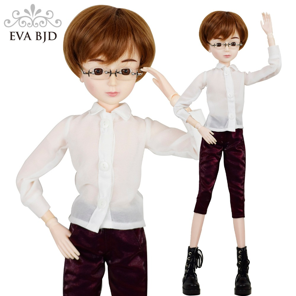 24 Full Set + 1/3 60cm EVA BJD Doll SD Doll Glasses Boy + Makeup + Accessories Wig Clothes Shoes Boots Wearing Glasses Gift synthetic bjd wig long wavy wig hair for 1 3 24 60cm bjd sd dd luts doll dollfie cut fringe