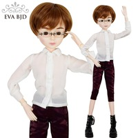 24 Full Set + 1/3 60cm EVA BJD Doll SD Doll Glasses Boy + Makeup + Accessories Wig Clothes Shoes Boots Wearing Glasses Gift