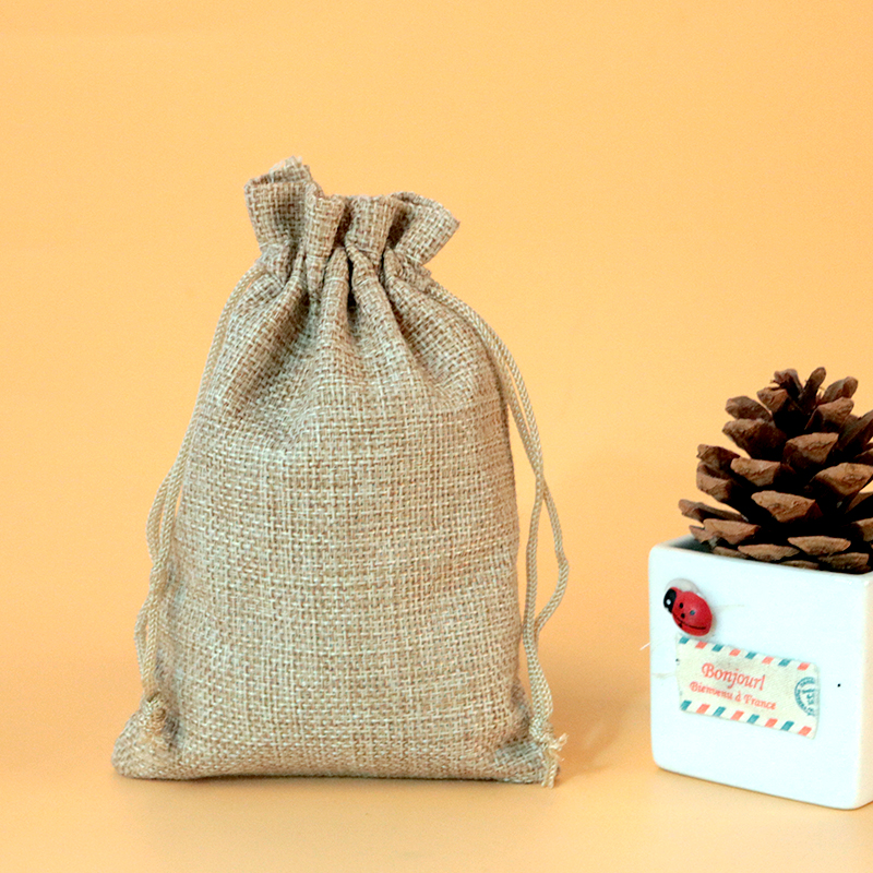 10 14cm 100pcs Brown Jute Bags Drawstring Gift Bag Incense Storage Party Favor Boutique Jewelry Packaging