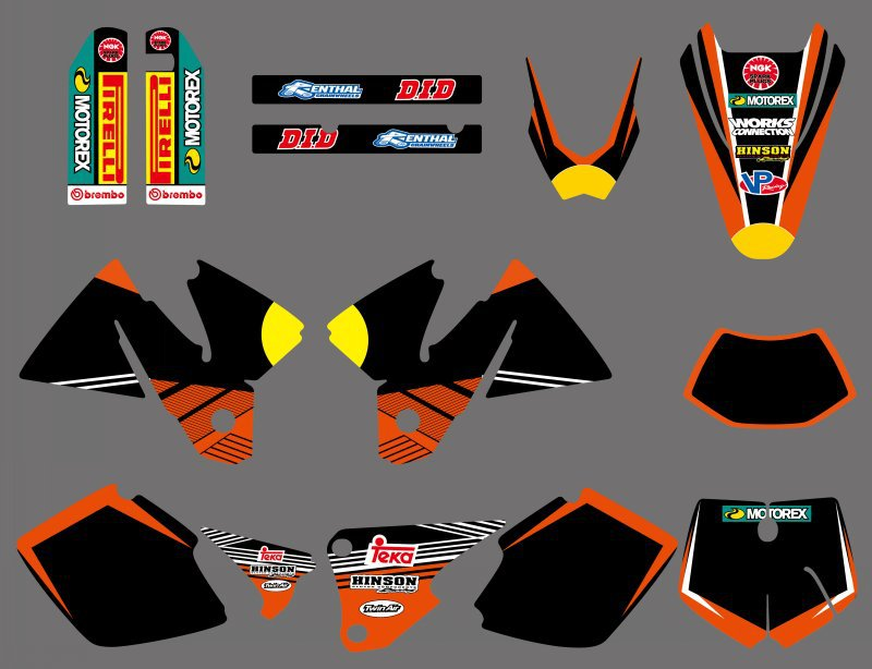 0405 bull NEW TEAM GRAPHICS WITH MATCHING BACKGROUNDS FIT FOR KTM EXC 125 200 250 300