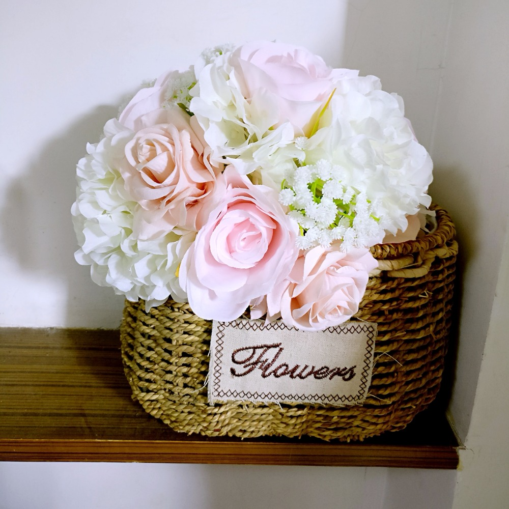 Купить с кэшбэком Silk Wedding Flowers Garden Bouquet Home Decor Flowers Bridesmaid Bouquets Roses Hydrangea Bridal Bouquet