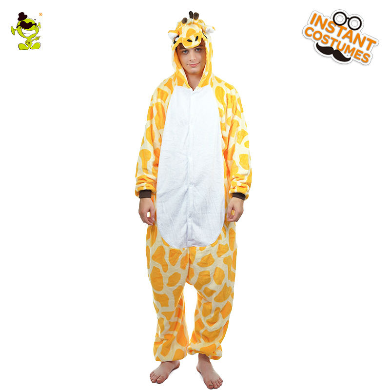 Adult Men Animal Giraffe Costume Cosplay Party Yellow Sleepwear Role Play Funny Cartoon Giraffe Pajamas One Size for Male