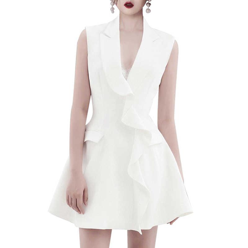 מקסימום Spri 2019 חדש V מחשוף שרוולים לבן ציצית לפרוע ציצית מחורצים צווארון אונליין מיני שמלה לבן מסיבת נשים אופנה
