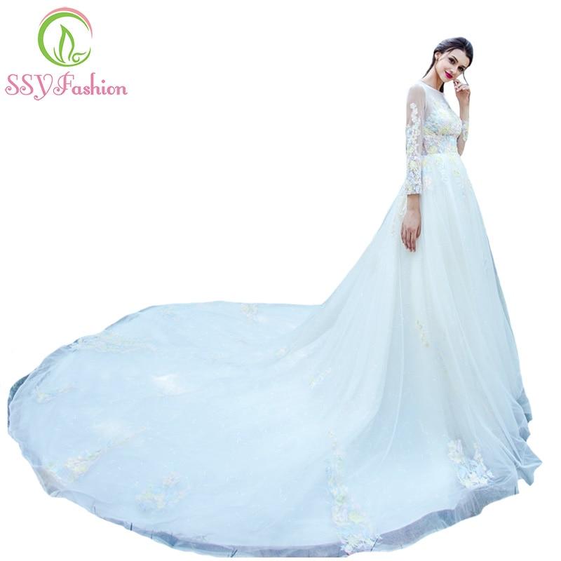Ssyfashion Long Sleeve Wedding Dresses The Bride Elegant
