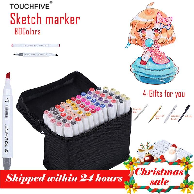Touchfive marcador de arte 80 cores desenho marcador animação esboço marcadores conjunto para o artista manga cohol baseado marcador escova suprimentos
