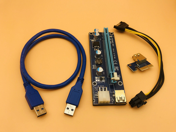 50PCS Golden VER009S USB 3.0 Riser PCI-E PCI Express Molex 6Pin to SATA 1X 16X Riser Card Adapter Cable LED for BTC Miner Mining