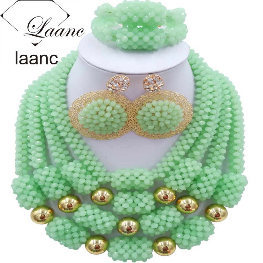 African Costume Dubai Jewelry Sets Mint Green Crystal Beads laanc AL031 mint green casual sleeveless hooded top