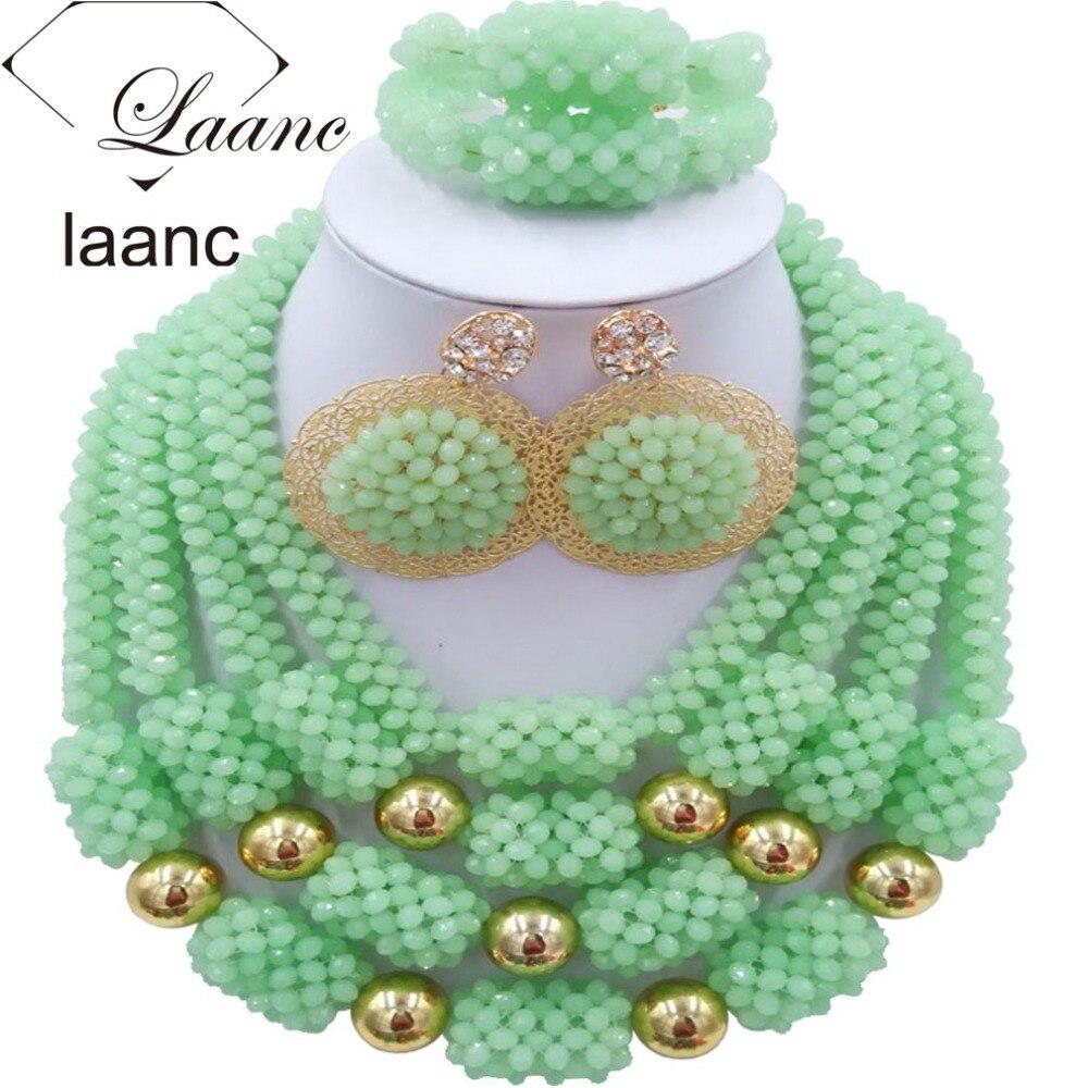 Costume africain Dubai ensembles de bijoux perles de cristal vert menthe laanc AL031