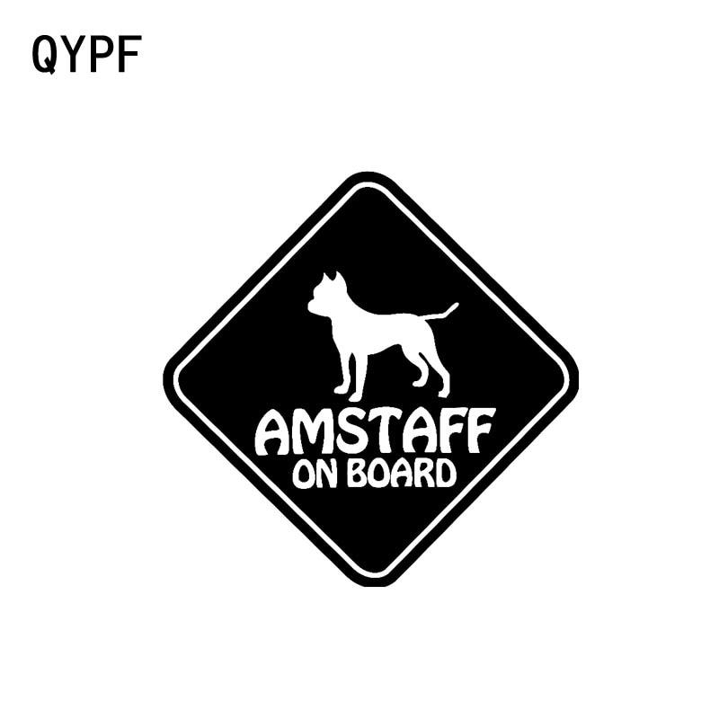 QYPF 15CM*15CM VINYL STICKER CAR DECALS  AMSTAFF ON BOARD  PET DOG Black Silver C14-0090