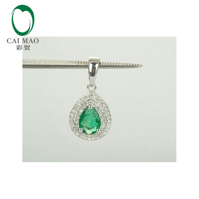 Caimao Joyería 14 K Oro Blanco 0.75ct Natural Esmeralda y Diamante Colgante Envío Gratis
