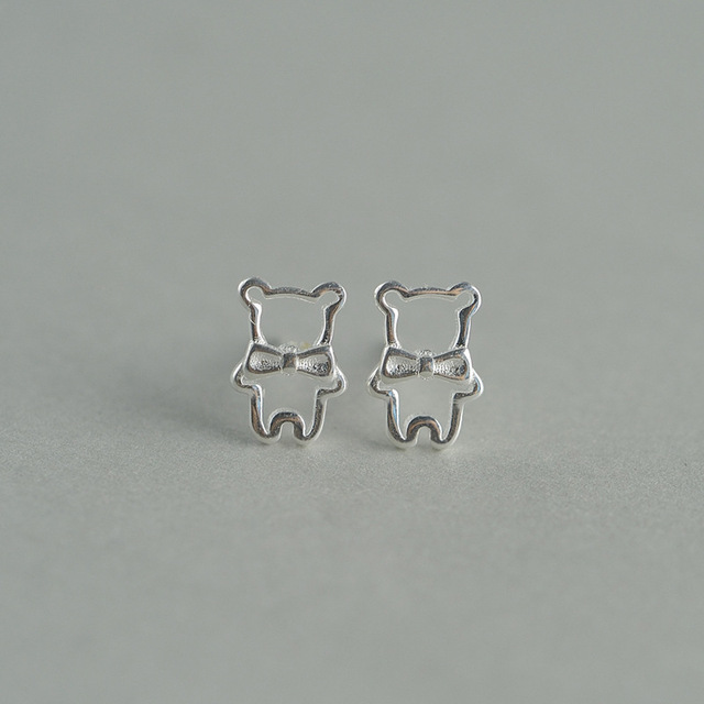 925 Sterling Silver Earrings Fashion Cute Little Gentleman Small Stupid Bear Las Gift Accessories