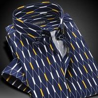 Summer 2016 Mens Contrast Argyle Plaid Short Sleeve Casual Shirts 100 Cotton Comfort Soft Slim Fit