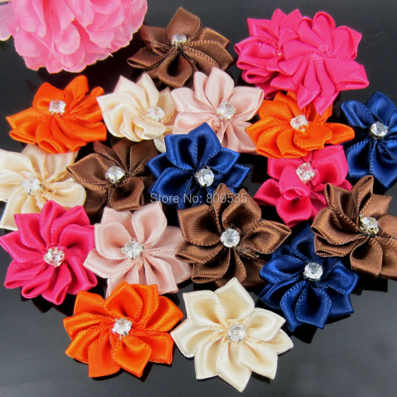 40Pcs Handmade Small Fabric Satin Flowers With Rhinestone Appliques Sewing Wedding Garment Accessories Flowers 2.8cm