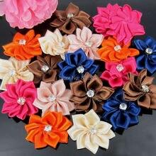 40Pcs Handmade Small Fabric Satin Flowers with Rhinestone Appliques Sewing Wedding Garment Accessories Flowers 2.8cm цены онлайн