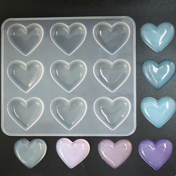 Small Heart Silicone Mold (9 Cavity) Puffy Heart Mold Flat Heart Mould Clear Mold For UV Resin Kawaii Crafts 1pc