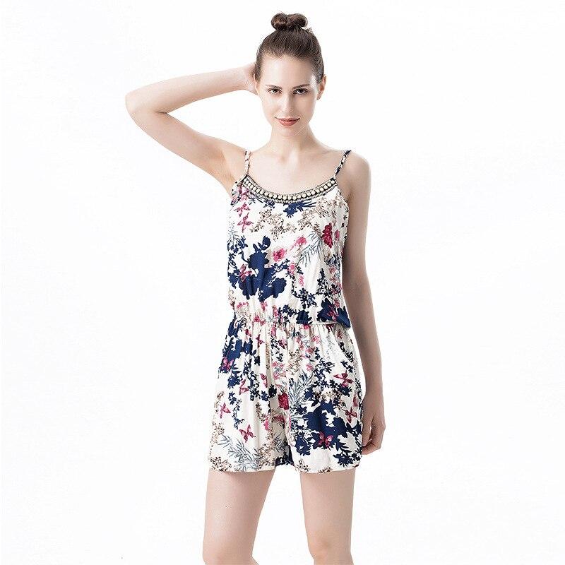 Summer Jumpsuits For Women Cotton Floral Floral Jumpsuit Short Strap Cool Rompers Womens Jumpsuit Elegant Bodysuit