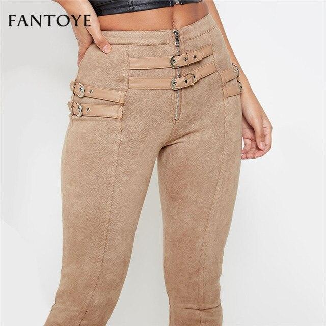 Fantoye Women Casual Bodycon Bandage Suede Pants 2019 Classic Basic Khaki Trousers Ladies Pencil Pants Elastic Women's Pants 2