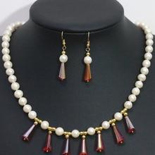 Bohemia naturales 7-8mm blanca cultivada de agua dulce perla pendientes collar sistema plateado oro granos cristalinos de la lágrima joyería B1427