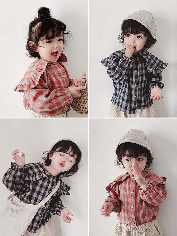 2019 Girls Spring Retro College Style Cotton Long Sleeve Plaid Blouse Toddler Kids Cappa Collar Shirt Children Fashion Top Cloth