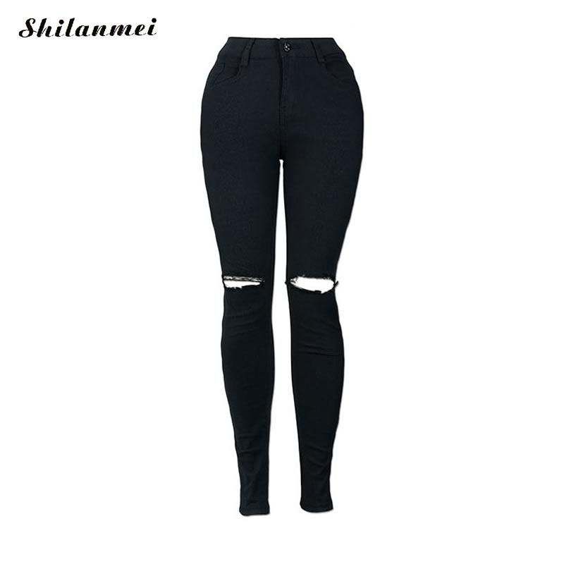 2017 Black jeans Women`s Celebrity Ripped Stretch Destroyed Skinny Denim high waist Pants Trousers Ferminio Jeans For Women jm collection women s stretch blend pants
