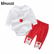 Kimocat Newborn Baby Christmas Clothes Long Sleeve Cotton Cartoon Print Baby Boy Girl Clothes Infant Clothing Set Outfits Suit 2019 new christmas outfits babys outfits kids clothing santa clause suit long sleeve cute fashion toddle