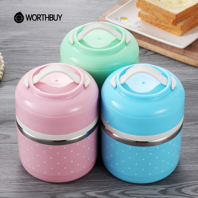 WORTHBUY Portable Cute Japanese Lunch Box Leakproof Thermal For Food Stainless Steel Bento Box Kids School Picnic Food Container