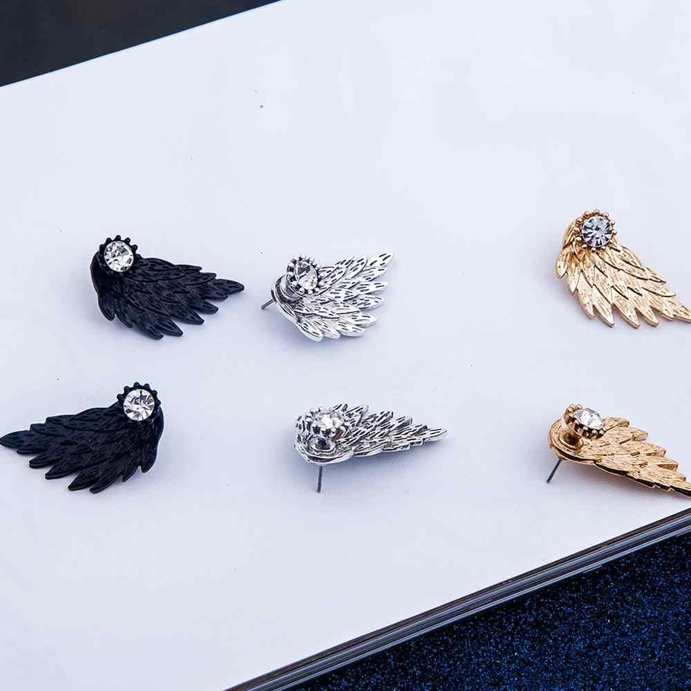 Aretes de aleación de diamantes de imitación alas de Ángel joyas geniales góticas plateadas en oro negro