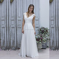 Simple And Cheap Lace Chiffon Beach Wedding Dresses 2017 V Neck Cap Short Sleeve Empire Waist Vestidos de noiva Boho Bridal Gown