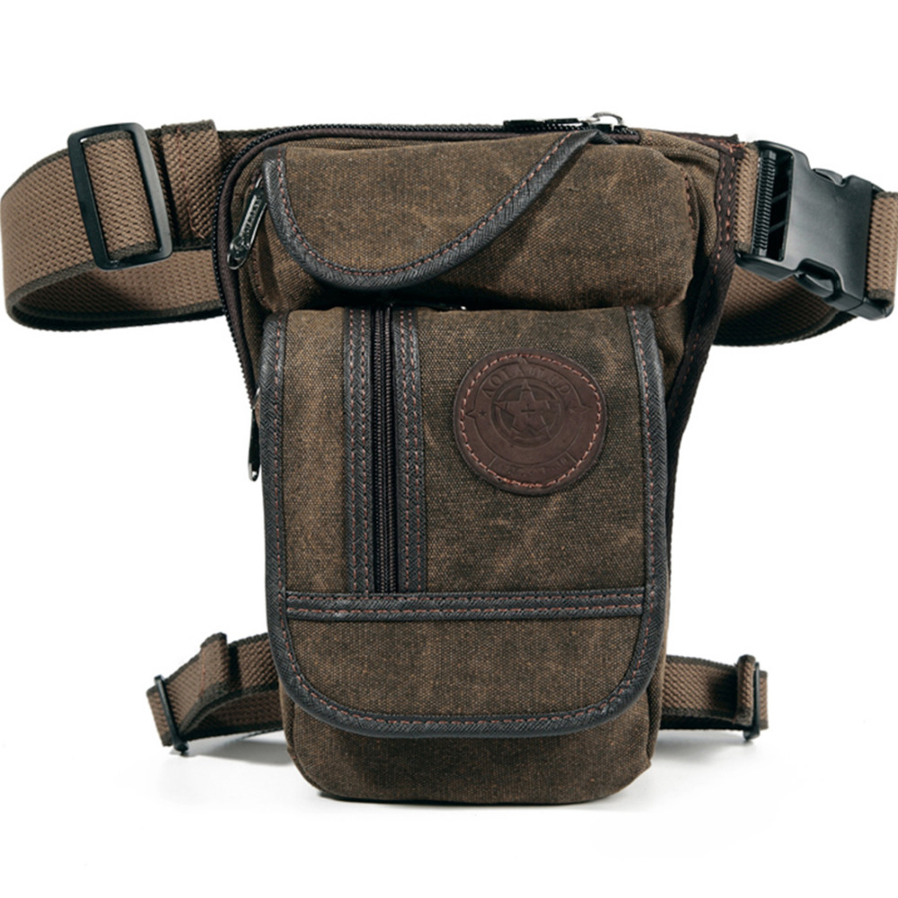 High Quality Canvas/Nylon Drop Leg Bag Fanny Pack Belt Hip Bum Military Travel Motorcycle Men Rider Off Roading Thigh Waist Bags