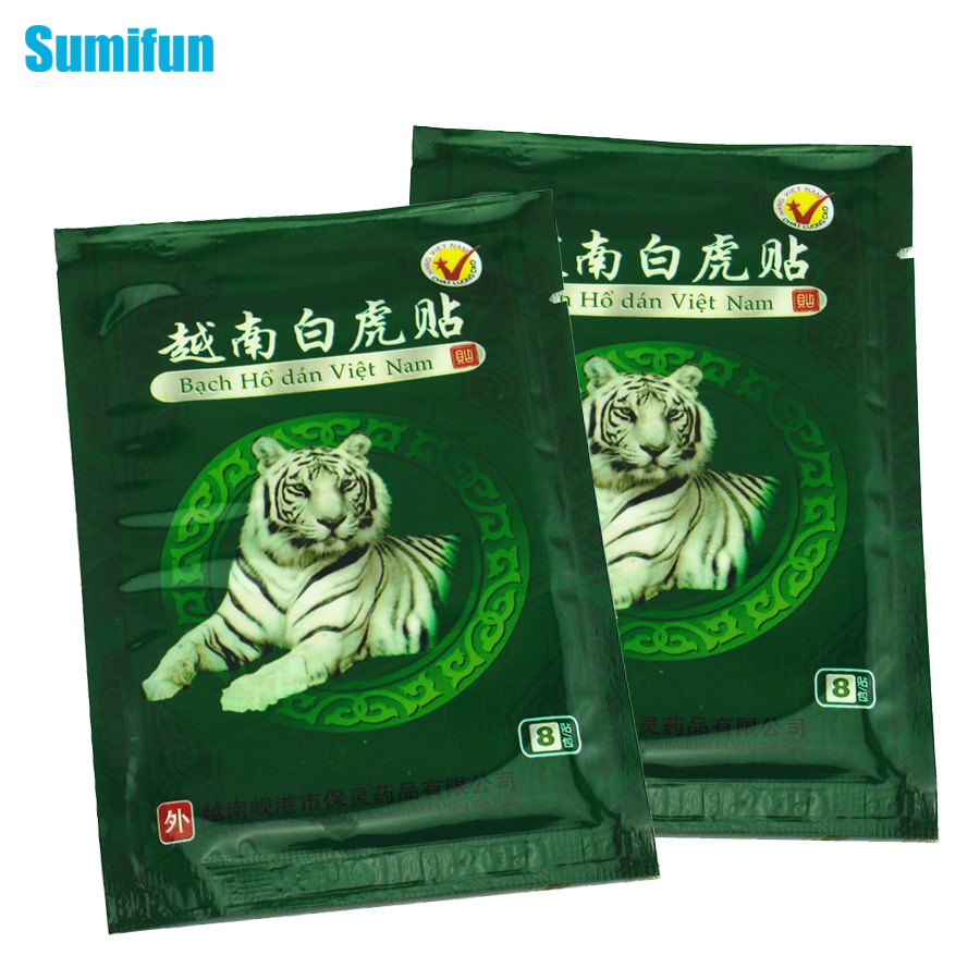 8Pcs Sumifun Vietnam White Tiger Muscle Relaxation Capsicum Herbs Plaster Joint Pain Killer Back Neck Body patches C053 bone joint pain liquid calcium with vitamin d3 body relaxation