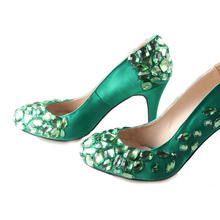 Handmade green jade emerald satin with sewed crystals one toe and heel dress shoes bridal wedding pumps party banquet woman shoe