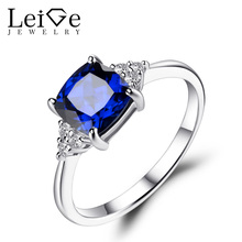 Leige Jewelry Blue Sapphire Engagement Ring Gemstone Promise Rings for Women 925 Sterling Silver Cushion Cut Fine Jewelry