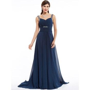 Dressv dark navy long evening dress cheap beading ruched sleeveless wedding party formal dress a line evening dresses 3